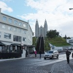 The church in Akureyri is quite imposing up at the top of the hill.