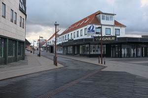 The deserted streets of Hirtshals early Tuesday morning.