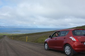 The steep gravel roads were a little intimidating, but Linnea managed to stay on the road in the cute little red-orange car.