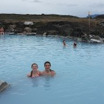 Here we are swimming in the smelly, but warm, water at the Myvatn Nature Baths!