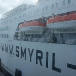 Finally boarding the Smyril Line (Smyril means Merlin in Icelandic) ship!