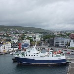 The ship stopped briefly in Thorshavn, the capital city of the Faroe Islands.