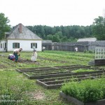 The garden at Fort Williams being tended by staff in period costumes.