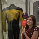 Linnea geeking out with commander Data's uniform.