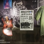 This is just one of the many smashed guitars on display  in the Nirvana exhibit.