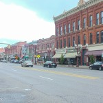 Downtown Franklin, featuring lots of brick buildings, which Lyonel seemed to think characterized America.