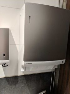 cloth towel roll dispenser in bathroom