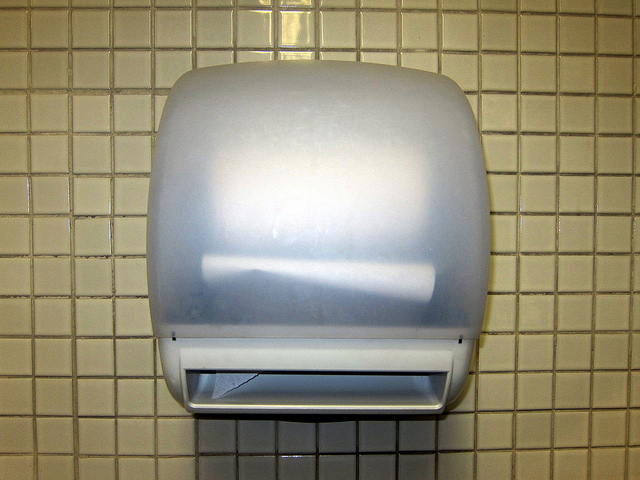 Paper towel dispenser in bathroom