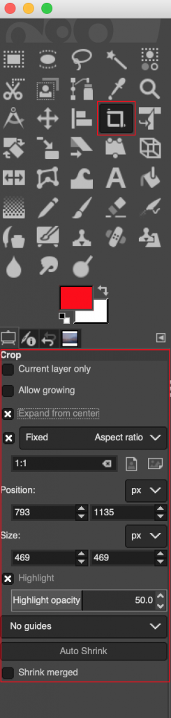crop tool options interface