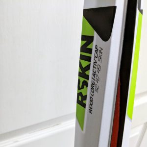 close-up of skis