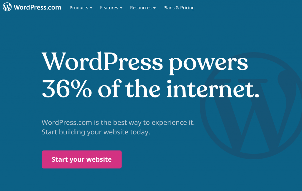 "Screen capture of WordPress.com: ""WordPress powers 36% of the internet."" ""Start your website"" button"