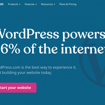 "Screen capture of WordPress.com: ""WordPress powers 36% of the internet."" and ""Start your website"" button."