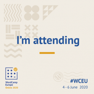 Attendee badge for WCEU 2020 Online.
